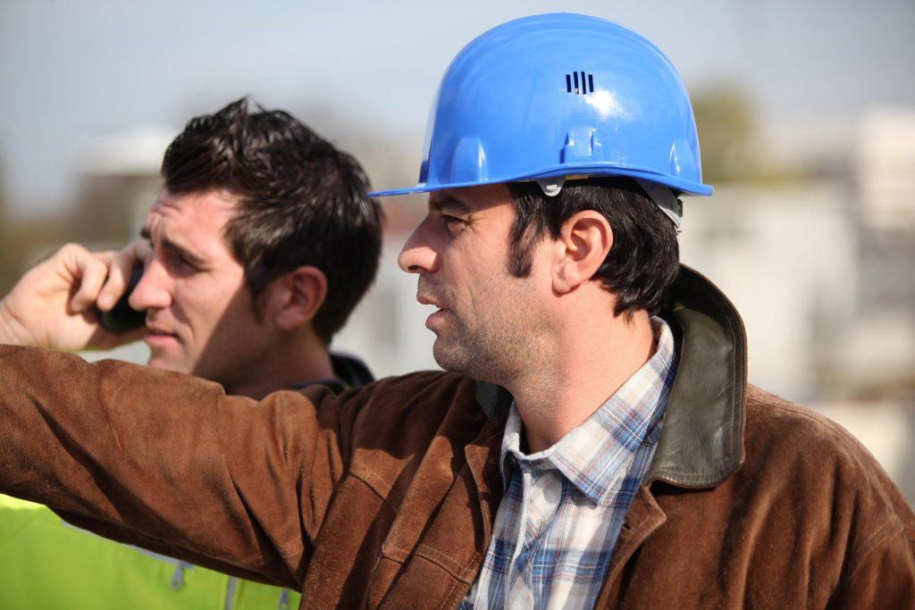 man with his hard hat
